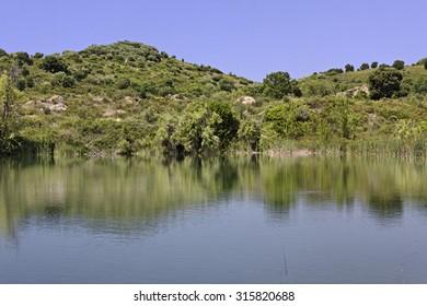 Lac de Padula (Padula lake) near the mountain village Oletta in the Nebbio region, Northern Corsica, France