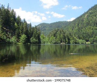 Lac de Retournemer: an idyllic lake situated in Xonrupt, in the beautiful Vosges mountains of France. The area is a popular vacation destination.