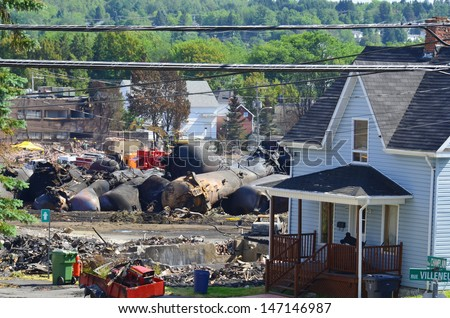 LAC MEGANTIC CANADA JULY 14: Downtown Lac Megantic after the worst train disaster in the canadian history on july 14 2013 in Lac Megantic Canada. 50 people was killed in this humanitarian disaster.