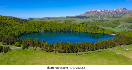 lac pavin and forest- lake pavin auvergne in france