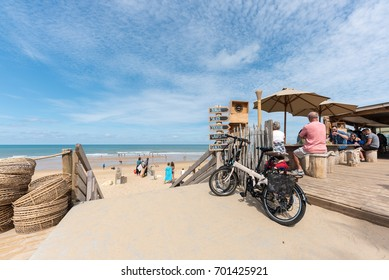 LACANAU, FRANCE - AUGUST 12, 2017: a fast food restaurant at seaside in Lacanau, between Bordeaux and the Arcachon Bay. This seaside resort on the Atlantic Coast is also a well-known surf station.