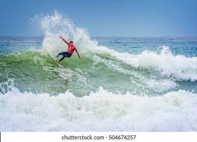 LACANAU, FRANCE - AUGUST 17: Surfer riding a huge wave during the LacanauPro World surf league competition, on August 17,2016  in Lacanau, France