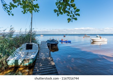 LACANAU, FRANCE - AUGUST 18, 2018: Lacanau is a french resort on the Atlantic Ocean and has also a big lake with small beaches appreciated by families and a marina.