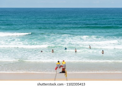 LACANAU, FRANCE - MAY 27, 2018: lifeguards on the central beach of Lacanau, a French seaside resort on the Atlantic Coast and a well-known surf station between Arcachon and Bordeaux.