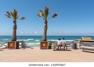 LACANAU, FRANCE - MAY 27, 2018: seafront and access to the central beach of Lacanau, a French seaside resort on the Atlantic Coast and a well-known surf station between Arcachon and Bordeaux.