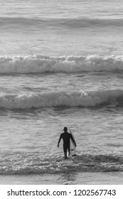 Lacanau (France), surfer on the beach