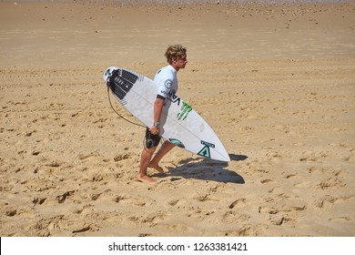 Lacanau/Gironde/France/August 2018 : Pro Surfer Jose Gundesen Prepares For Round 5 Of The Lacanau Pro WQS Surf Competition