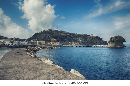 Lacco Ameno harbour ,  Ischia island in Italy