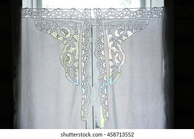 Lace curtain on the window