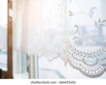 Lace curtain Window frame with morning light Vintage Home interior decoration