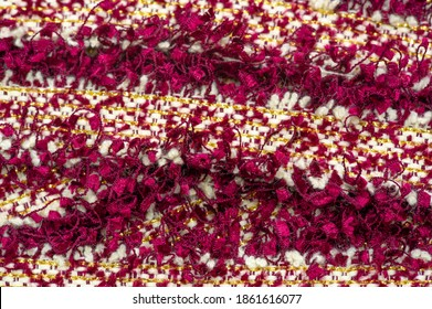 lace fabric. Multi-colored beads with pom-poms Fringe Tassels. Close-up, Pearl trim, Sewing mesh, Cloth tape, Ribbon applique, DIY crafts