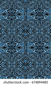 lace hand drawn blue teal background ethnic traditional pattern illustration wallpaper