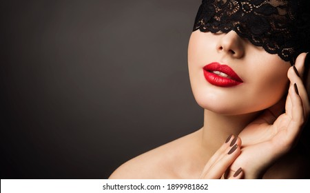 Lace Mask and Red Lips, Beautiful Woman Fantasy, Black Bandage Hide Young Model Face