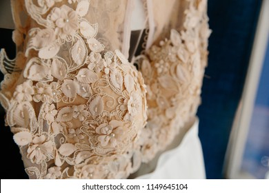 lace on the dress close-up