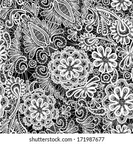 Lace seamless pattern with flowers - fabric background. Raster version