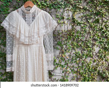 Lace textile vintage romantic dress , classic lace with green trees