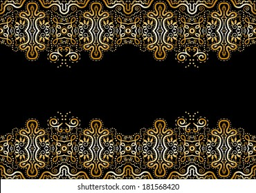 Lace vector fabric seamless pattern border frame, design element, hand drawn sketch, black and white gold background, raster illustration