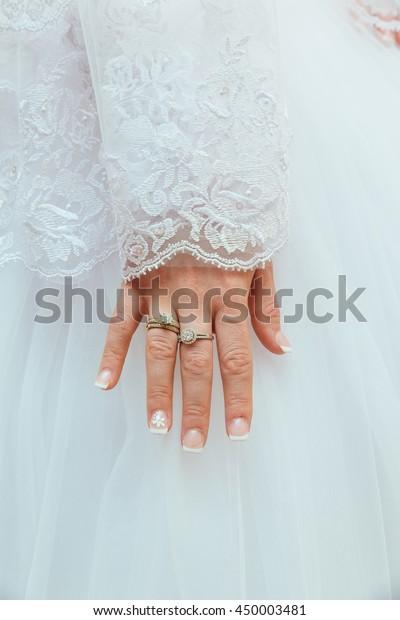Lace White Wedding Dress Long Sleeves Stock Photo Edit Now 450003481