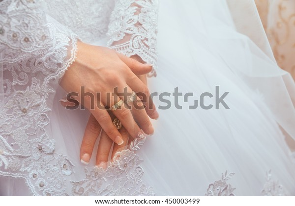 Lace White Wedding Dress Long Sleeves Stock Photo Edit Now 450003499
