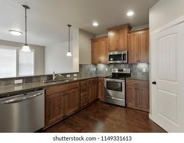 Lacey, WA / USA - July 31, 2018: Modern kitchen interior