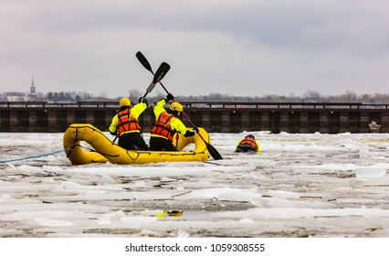 Lachine, Quebec, Canada, March 28 2018, : Montreal emergency service quick response team being put through its paces in freezing conditions on Lac St Louis.