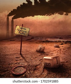 Lack of water on contaminated land, world in 2050 year