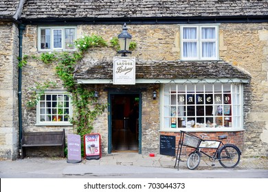 Lacock, UK - May 14, 2017: View of an old traditional bakery shop in the picturesque Wiltshire village of Lacock.