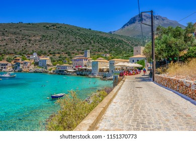 Laconia, Greece - July 2018: Amazing scenery at the picturesque coastal village of Limeni. Its one of the most popular tourist destinations in Greece located at Mani area between Messenia and Laconia
