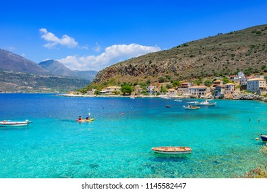 Laconia, Greece - July 2018: Scenic view at the picturesque coastal village of Limeni. Its one of the most popular tourist destinations in Greece located at Mani area between Messenia and Laconia