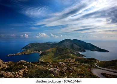 "LACONIA, PELOPONNESE, GREECE. Panoramic view of Cape Tainaron (or ""Cape Matapan"") on the southernmost corner of Mani region. It  was considered in the ancient times, the ""Gate to Hades (underworld)"""