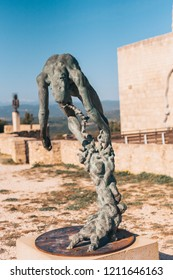 Lacoste, Vaucluse, Provence-Alpes-Cote d'Azur, France, September 25, 2018: Sculpture on top of a mountain near the walls of the castle Lacoste - Marquis de Sade