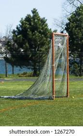 Lacrosse goal with net.