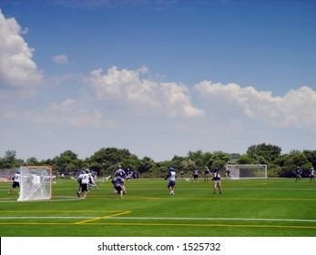 Lacrosse players in action on the Floyd Bennett field in Brooklyn, New York