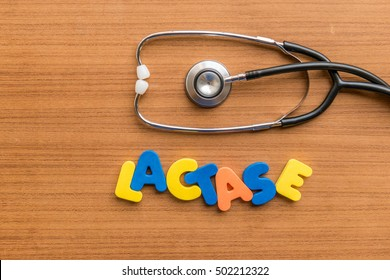 lactase colorful word with Stethoscope on wooden background