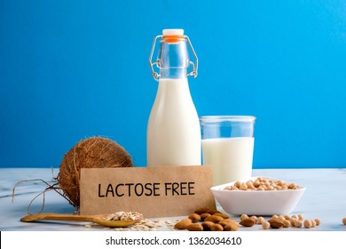 Lactose free milk. Bottle and glass of milk, almond nuts, oat flakes, coconut and piece of paper with text LACTOSE FREE on wooden surface on blue background. Lactose intolerance food concept