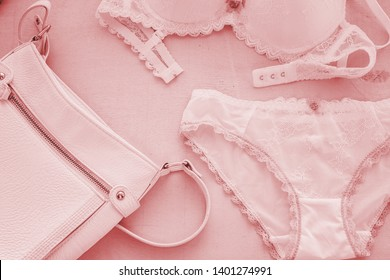 lacy lingerie womens underwear on white background closeup.