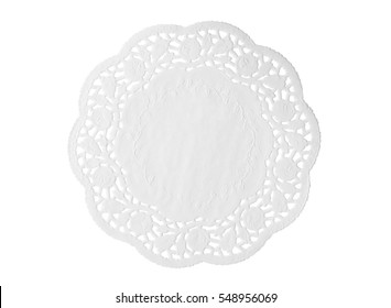 Lacy white paper napkin isolated on white background