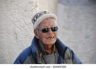 LADAKH, INDIA - 20 JUNE 2015: Portrait of a man of the Aryan tribe of Ladakh. The native community is considered to be the direct descendants from the Alexander's Army who visited India centuries ago.