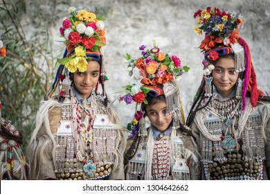 Ladakh, India - August 30, 2018: Portrait of a three native girls in traditional costume during cultural festival in Ladakh, India. Illustrative editorial.