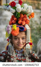 Ladakh, India - August 30, 2018: Portrait of a small native girl in traditional costume during cultural festival in Ladakh, India. Illustrative editorial.