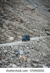 Ladakh, India - August 7, 2015 : Road in mountains in Ladakh, India