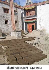 Ladakh, India, capital Leh, manufacturing of bricks for building about the house.
