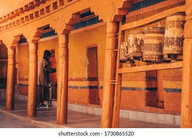 Ladakh, India - CIRCA 2020: Likir Gompa Tibetan Buddhist monastery in Leh The Himalayas