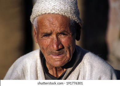 LADAKH, INDIA - JULY 2, 2006 - An aging man lives out his golden years in the farming valleys of Ladakh in the country's northern Himalayan region near Tibet.