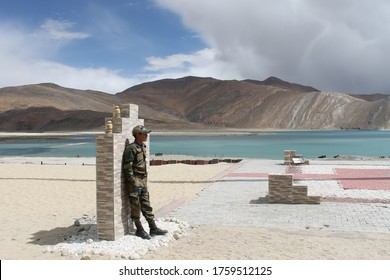 Ladakh, India - May, 2020: Indian soldiers are guarding near the border with China, in their military base.