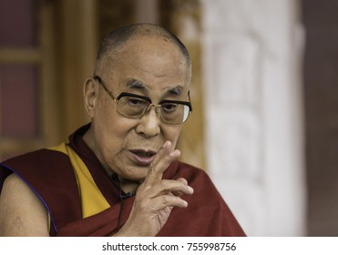 Ladakh, India, Nubra valley, Disket, July 2017, His Holiness Dalai Lama gestures with his fingers during his explanations at a reception for western listeners at Disket