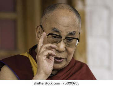 Ladakh, India, Nubra valley, Disket, July 2017, His Holiness Dalai Lama talks and gestures with his fingers during explanations for foreign , non tibetan listeners