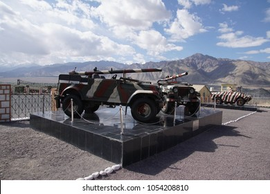 LADAKH, INDIA - SEP 12, 2017 - Recoiless chamber loaded gun RCL in mountain camouflage, near Indian army camp, Leh, Ladakh, India