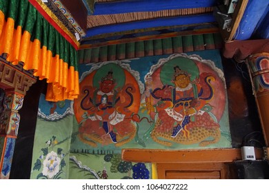 LADAKH, INDIA - SEP 12, 2017 - Buddhist frescoes of guardian deities at Liker gompa MonasteryLadakh, India