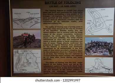 LADAKH, INDIA - SEP 12, 2017 - Indian army operations against Pakistan in Himalyan mountains in Kashmir and Ladakh, as displayed in Indian Army Museum in Ladakh, India